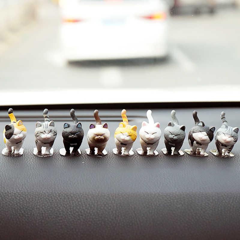 9 قطعة/المجموعة سيارة الحلي لطيف القطط لوحة الديكور جميل القط دمية سيارات لعبة التصميم الداخلية اكسسوارات هدية
