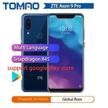"""2018 الأصلي ZTE Axon 9 برو 4G LTE IP68 مقاوم للماء 6.21 """"8GB 256GB Snapdragon 845 ثماني النواة NFC 4000mAh بصمة 20MP مرحبا فاي"""