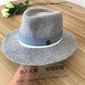 Nuevo Occidente sombrero Sir Corazones de lana mezclada hembra ceniza doble M estándar sombrero gris cinta de bobinado