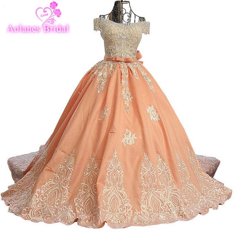 AOLANES 2017 livraison gratuite dubaï arabe robe de bal Appliques robes de soirée longue Orange formelle robes de bal robe de soirée longue