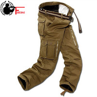 Men Cargo Pants Winter Plus Fleece Thick Warm Pants Double Layer Multi Pocket Casual Military Baggy Tactical Trousers Male