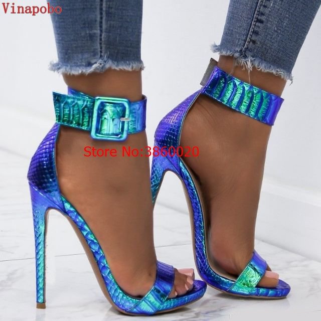 vinapobo Summer green snake printed Sandals Women Super High Heels Buckle Strap Party Wedding Fashion Shoes Sandalia Feminina-in High Heels from Shoes    1
