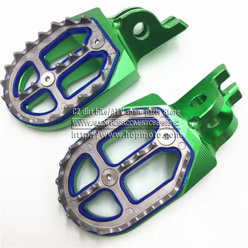 ФОТО Billet MX Wide Foot Pegs Rests Pedals For KLX KXF KLX450R KXF250 KX250F KXF450 KX450F Motorcycle Motocross Enduro Motard