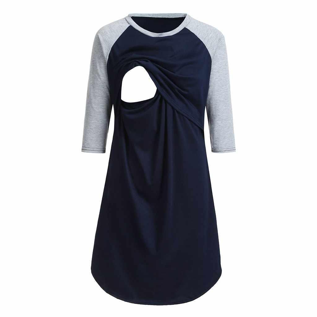 Модная одежда для беременных; женское платье для беременных; три четверти; платья для кормящих мам; ночная рубашка для кормления; одежда для сна