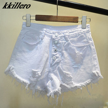 European and American BF summer wind female blue high waist denim shorts women worn loose burr hole jeans shorts