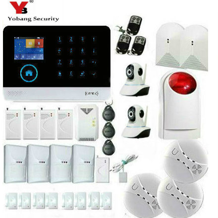 YoBang Security Android IOS App Glass Broken Pet Immune Sensor IP Camera Touch Keyboard WiFi GPRSGSM Home Security Burglar Alarm