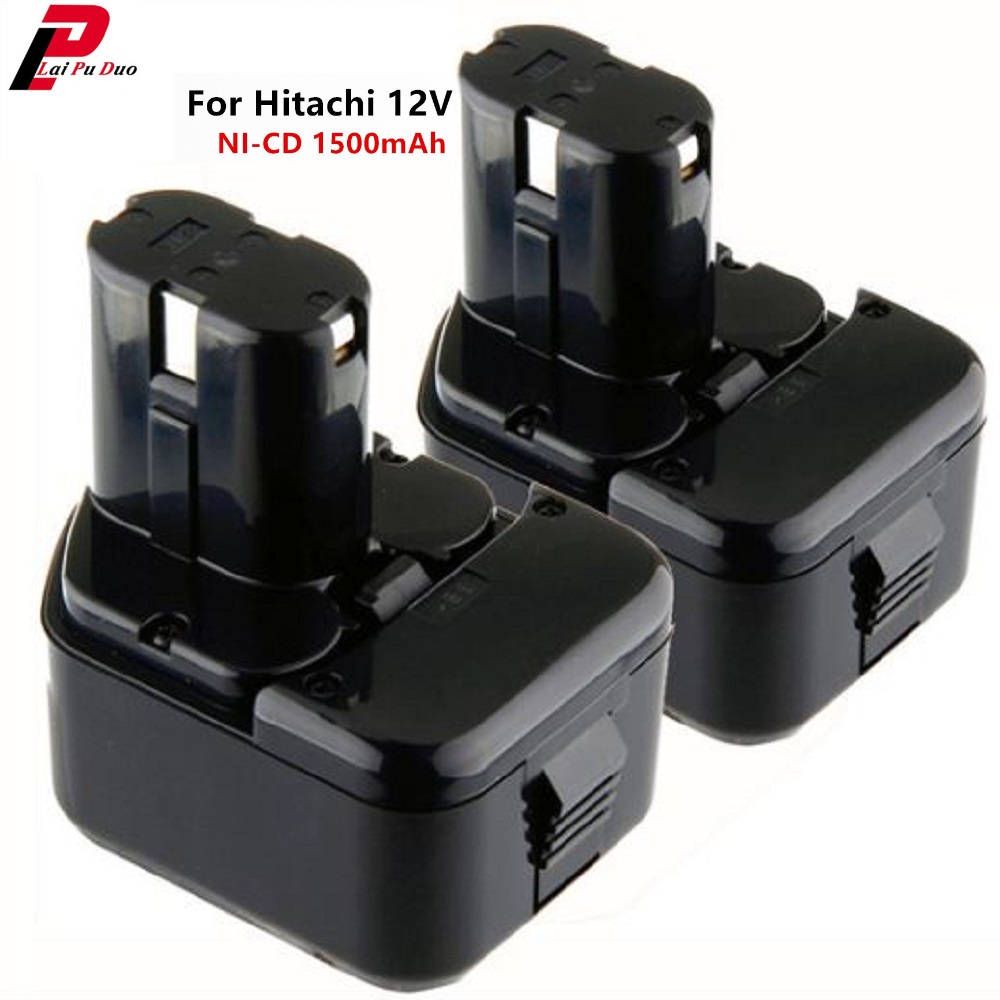 2PCS <font><b>12V</b></font> 1500mAh/<font><b>1.5Ah</b></font> NI-CD Rechargeable Power Tools Replacement <font><b>Battery</b></font> for Hitachi EB1212S EB1214L EB1214S EB1220BL image