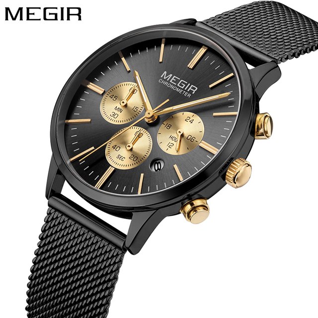 MEGIRTop Brand Ladies Watch Women Men Fashion Sport Watch Women Luxury Chronogra