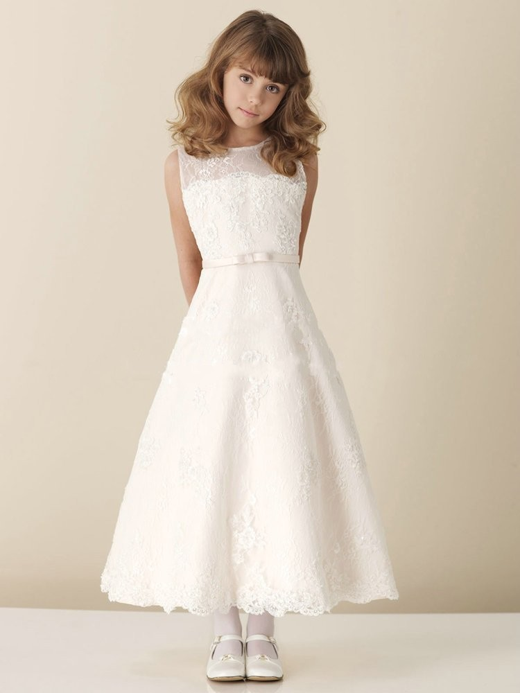 First Communion   Dresses   for   Girls   2019 Scoop Neck A-Line Lace Appliques Long Elegant   Flower     Girl     Dresses   Pageant   Dresses