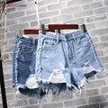 HOT! 2017 versão Coreana Da Marca de cintura Alta azul cowboy shorts Fêmeas Soltas Calças Jeans buraco Desgastado versão Mendigos perna Larga shorts Jeans