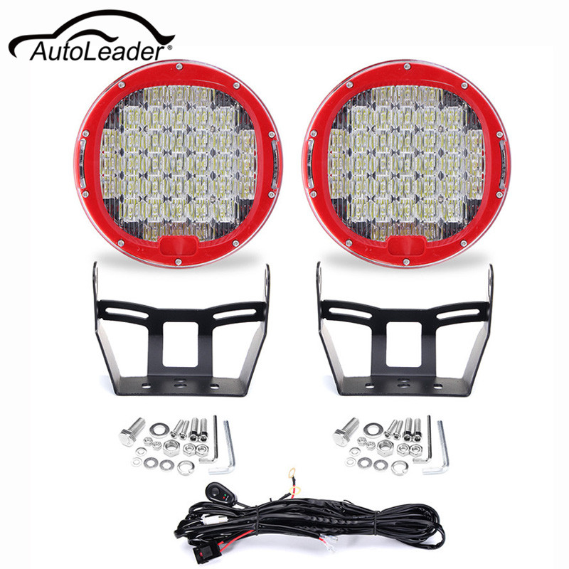 Autoleader 2pcs 9inch LED Round Work Light Spot Flood Driving Headlight 370W 6000K 10-30V For Jeep Offroad With Wiring Harness