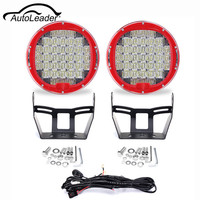 Autoleader 2pcs 9inch LED Round Work Light Spot Flood Driving Headlight 370W 6000K 10 30V For Jeep Offroad With Wiring Harness