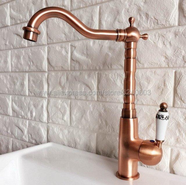 Kitchen Faucets Antique Red Copper Faucet Brass Swivel Spout Kitchen Faucet  Single Handle Vessel Sink Mixer