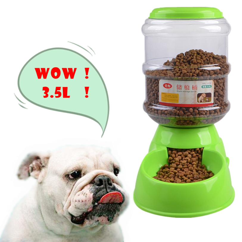 3.5L Dog Bowl Bottle Plastic Automatic Pet Feeder Device Feeding Water Bowl For Pet Dog Cat Puppy Food Bowl Water Dish noFB18