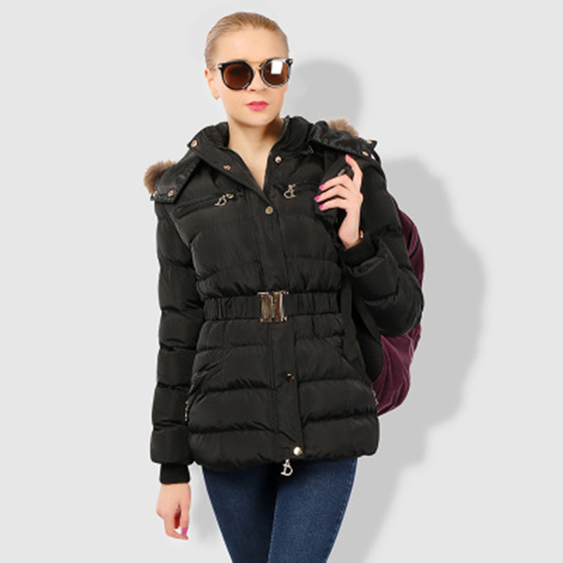 Ladies Thicker Down Cotton Long Coats Slim Winter Maternity Clothes with Big Fur Collar Hooded Black Outwear with Belt S-2XL