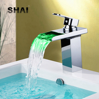 SHAI LED Light Glass Waterfall Basin Faucet Good Quality Hot&Cold Water Mixer Tap Chrome Finish Brass Faucets Square LED Tap