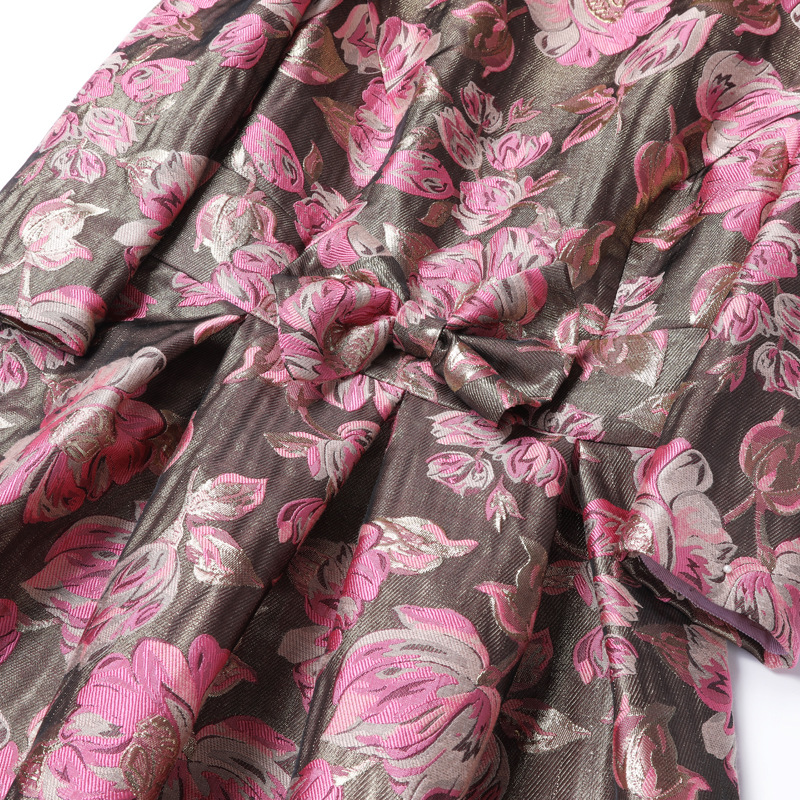 European Fashion Dress 2018 Autumn Winter Party Christmas Dress Women Pink Rose Flower Print Long Sleeve Bow Elegant Vestido - 3