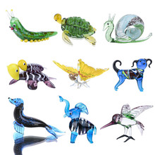 H&D 9 Styles Glass Blown Animal Figurines Collection Handmade Miniature Animals Dollhouse Ornaments Home Fairy Garden Decoration