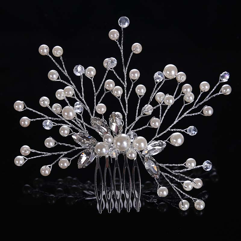 Fashion Pearl Bridal Hair Accessories Handmade Rhinestones Hair Combs Women Girls Wedding Hair Jewelry   Headwear   Hair Pins