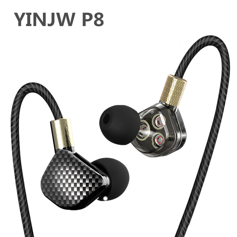 YINJW P8 3DB Three Dynamic Driver System Speakers HIFI Bass Subwoofer In Ear Stereo Sports Earphone Monitor Earbud Headset 2017 new six dynamic bass ear hifi earbuds earphone for mobile phone universal yinjw p8 magic song