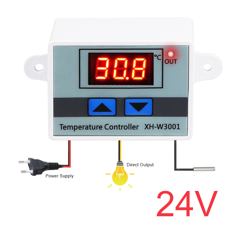 10A 12V 24V 110V 220VAC Digital LED Temperature Controller XH-W3001 For Incubator Cooling Heating Switch Thermostat NTC Sensor