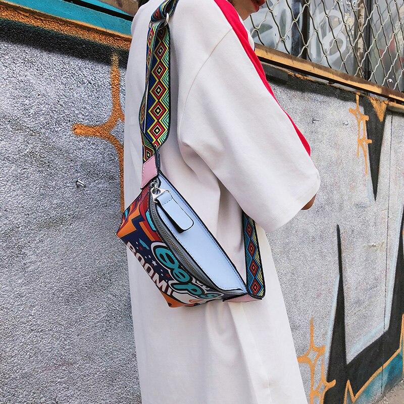 HTNBO Cute Fanny Pack Waist Bag Women Personality Belt Bags PU Leather Graffiti Chest Handbag WIth Colorful Shoulder Belt 2019
