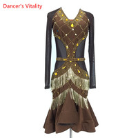 Custom Latin Dance Competition Clothing Girls Kids Women Latin Samba Salsa Dance Performance Costume Sexy Gauze Splicing Dress