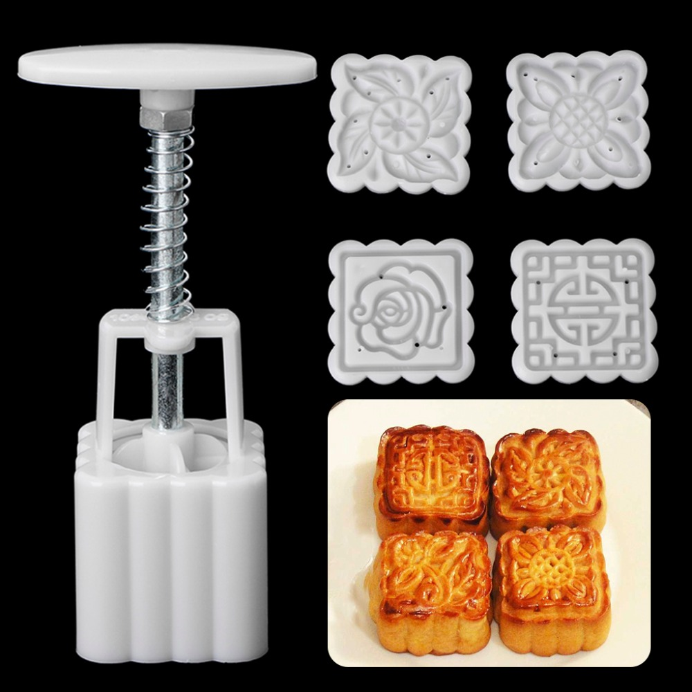 5Pcs/Set White Stamps 50g Square Flower Moon Cake Mold Mould Pastry Mooncake Hand DIY Tool Chocolate Biscuits Bakeware C42