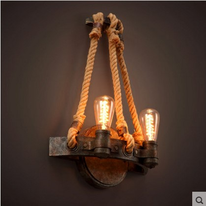 Rope Water Pipe Vintage Wall Lamp With 2 Lights For Home Edison Wall Sconce In Style Loft Industrial Wall Light Fixtures