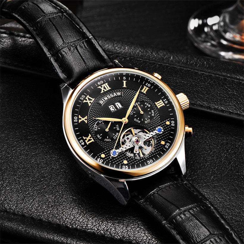 Binssaw Herenhorloges Mechanisch Horloge Duik 50m Kalender Gouden - Herenhorloges - Foto 3