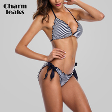 Charmleaks Women Bikini Set Halter Swimwear Stripe Swimsuit Side Bandage Bathing Suit Beachwear Sexy
