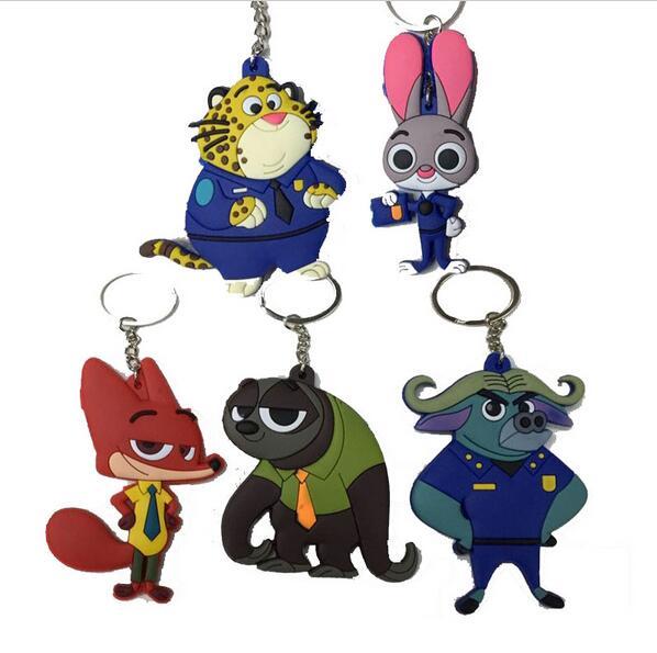Hottest Zootopia Figures Keychain Ring Toys Doll Set 2016 New Cartoon Animal Rabbit Judy Hopps Nick Fox  Buffalo Pendant