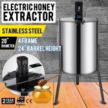 4 Frame Electric Honey Extractor Beekeeping 2 Clear Lids Food Grade CE Approved