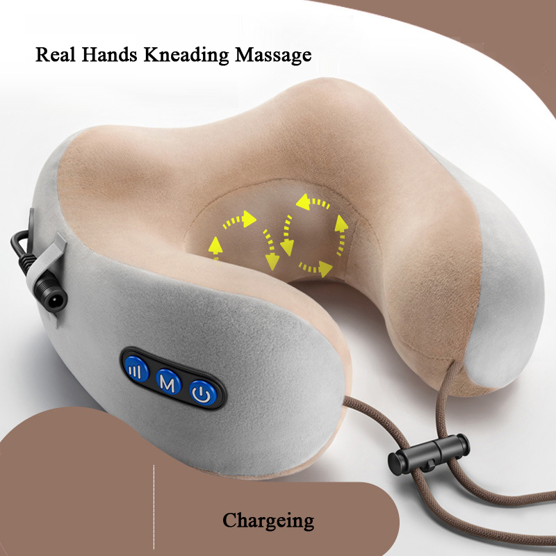Neck Massage Pillow Neck Pain Stiffness Relief Kneading Vibration Massage Device Portable Intelligent USB Charge M Shape  Fashio
