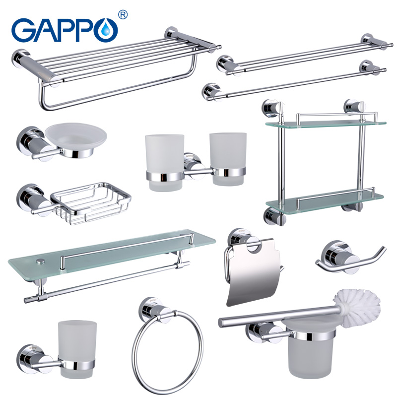 Gappo Bathroom Accessories Towel Bar Paper Holder Double Toothbrush Holder Bath towel back Towel ring Bathroom Sets image