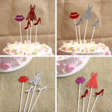 Hot Selling Party Dessert Table Decoration Sexy Skirt High Heels Red Lips Birthday Cake Inserts 5 Sets Children Birthday Party(China)