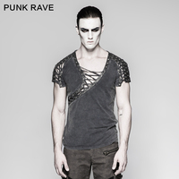 New Arrival Steampunk Asymmetric Neck Personality Cropped T shirt mens casual tshirt fashion stylish rock steam punkt shirt T463