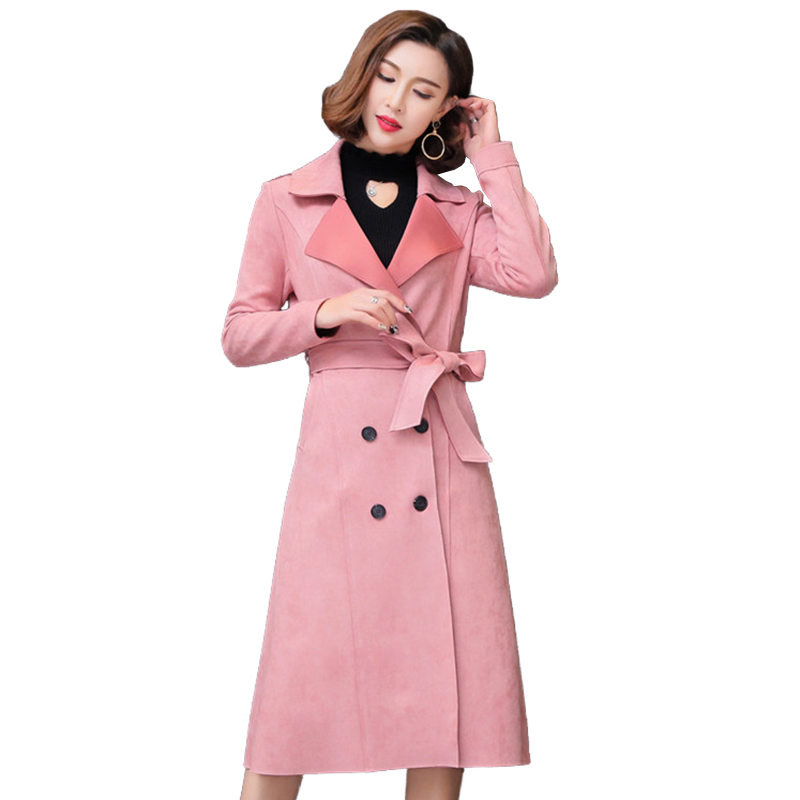Spring Autumn Fashion Buckskin Suede   Trench   Coat Women Long Coats Plus size Belt Windbreaker Female Double-breasted   Trench   A2842