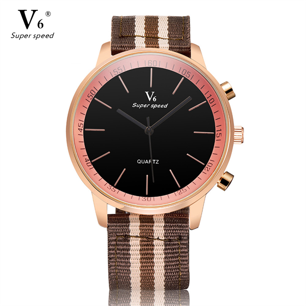 V6 Fashion Mens Casual Watches Vintage Dress Elegant Analog Dial Fabric Bracelet Strap Quartz Watch Men Gift relogio masculino