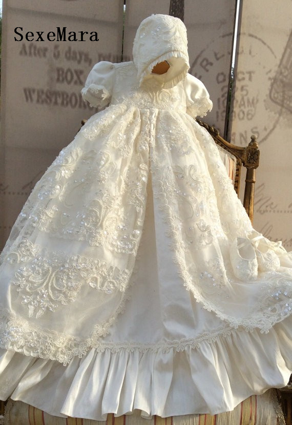 7c3960ae09e Lolita White Ivory Christening Gown Lace Sequins Baby Girls Baptism Dresses  With bonnet Infant Girls Christenging Dress Any Size