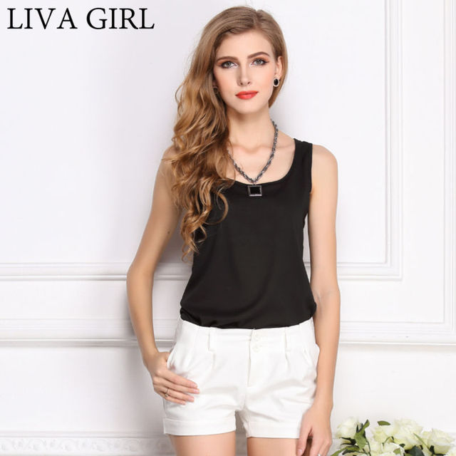 LIVAGIRL Hot Sale Slim Women Tank Tops Casual Thin Light Basic Style Women T-Shirt Sleeveless Chiffon Vest Ladies Clothing