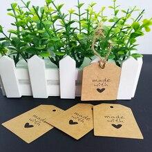 100PCS Kraft paper+10M hang tag Hand Heart Design Paper Labels Packaging Wedding Birthday