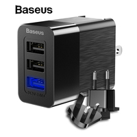 Baseus 3 Port USB Charger 3in1 Triple EU US UK Plug 2.4A Travel Wall Charger Adapter for iPhone Samsung Xiaomi Phone USB Charger Mobile Phone Chargers