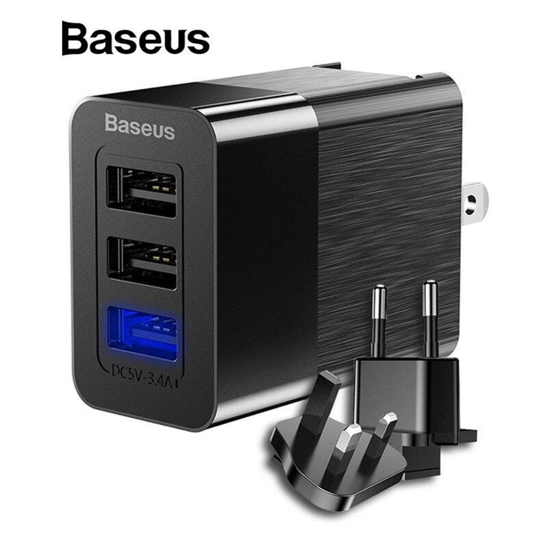 Baseus 3 Puerto USB cargador 3in1 Triple UE ee.uu. Reino Unido Plug 2.4A viaje adaptador para iPhone Samsung Xiaomi cargador del USB del teléfono