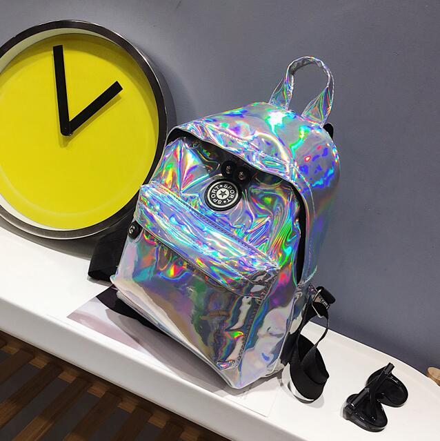 New Hologram Sweet Silver Laser Backpack Holographic Bag Girls Mochila Feminino School Leather Small Backpack Preppy Style