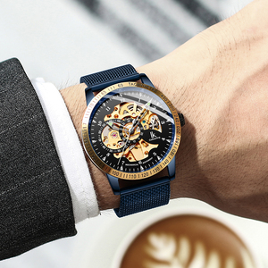 Image 3 - IK Colouring Mens Watches Mesh Braided Stainless Steel Band Automatic Mechanical Male Clock Skeleton Steampunk Relogio Masculino