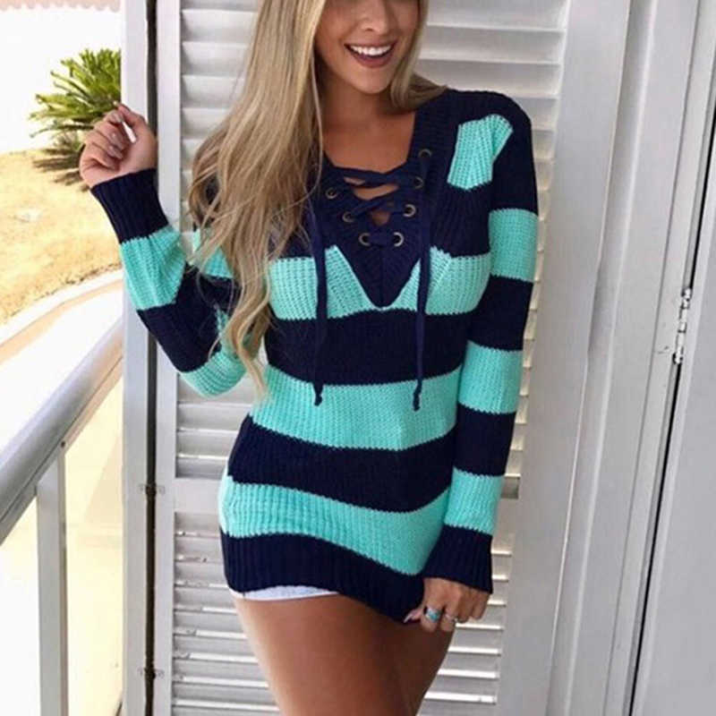 Women Long Sweater Oversize Knitted Bandage Lace Up Striped Patchwork  Pullovers For Female Women Long Sleeve 9810780e5