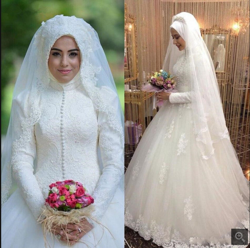 Modest Arabic Style Bridal Gown Islamic Long Sleeve Muslim Women