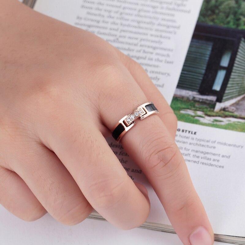 Hot Sale Classic Luxury Jewelry Black Side 4 Zircon Elegant Love Ring Titanium Steel Rose Gold Color Brand Ring For Women 2