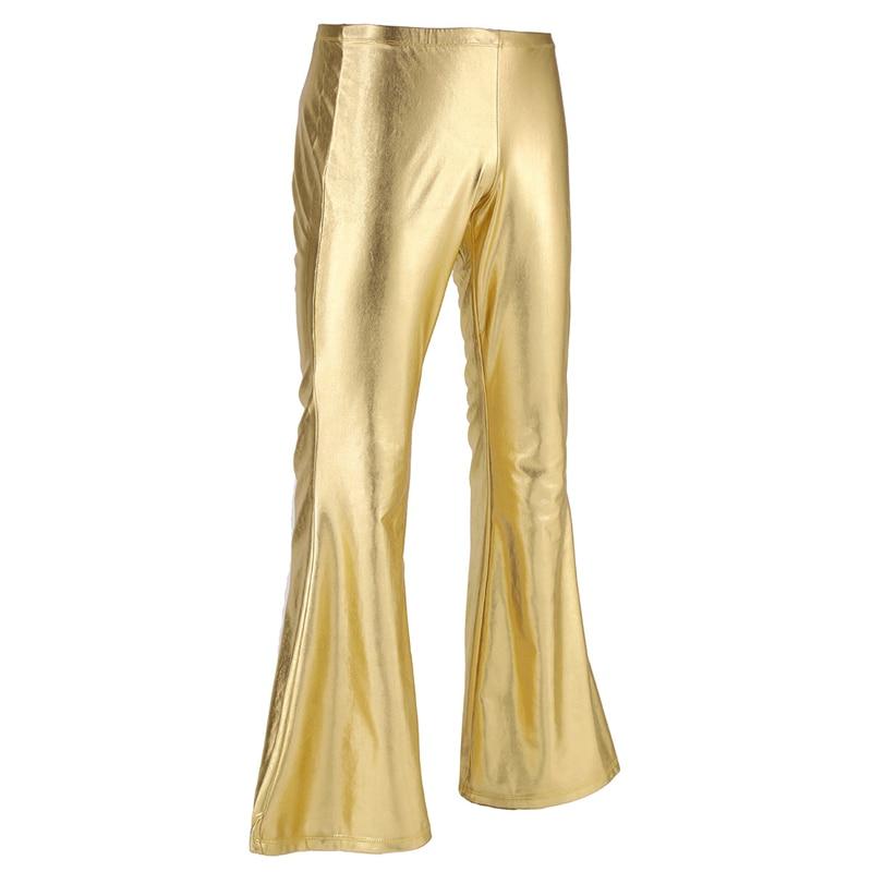 YiZYiF Men Shiny Metallic Disco Pants Bell Bottom Flared Long Pants Dude Costume Trousers Men's Flare Pants Flared Bell Pants 3